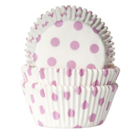 House of Marie Baking cups Stip Wit/Baby Roze - pk/50