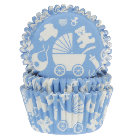 House of Marie Baking Cups Baby Blauw pk/50