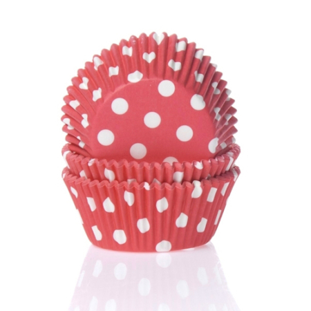 House of Marie Baking cups Stip Rood - pk/50