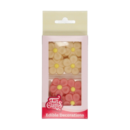 FunCakes Marsepein Decoratie Margriet Wit/Roze Set/12
