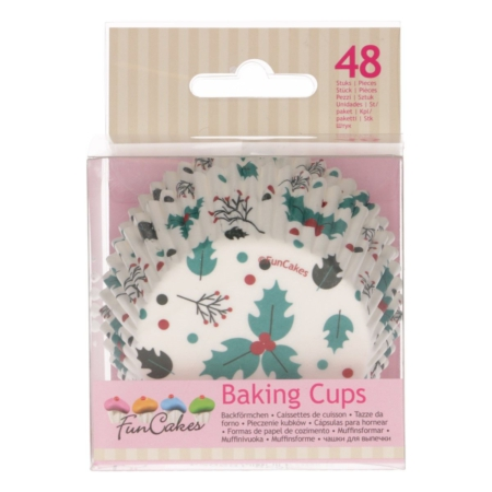 FunCakes Baking Cups -Holly Leaf- pk 48
