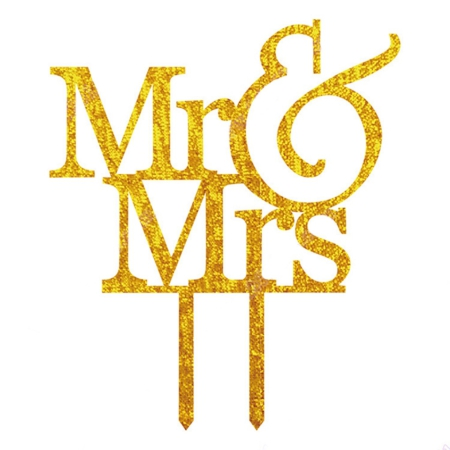 Mr & Mrs Caketopper goud glitter