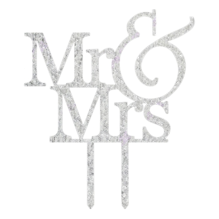 Mr & Mrs Caketopper zilver glitter