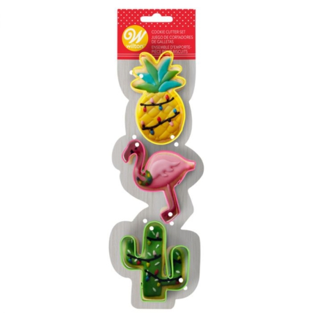Wilton Cookie Cutters Flamingo/Cactus/Pineapple Set/3