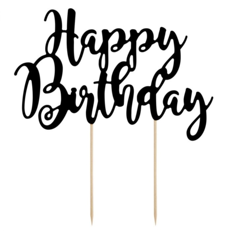 PartyDeco Cake Topper Happy Birthday - Zwart