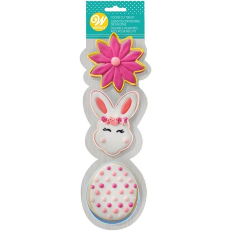 Wilton Cookie Cutter Set Flower/BunnyHead/Egg Set/3