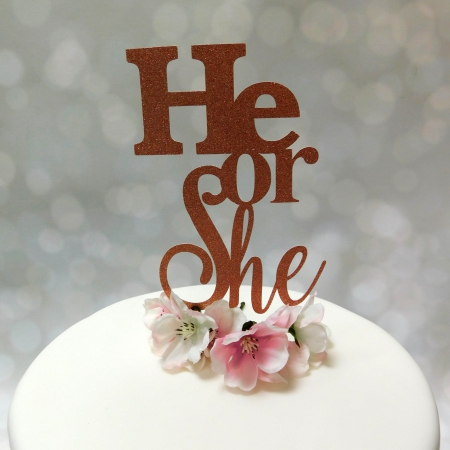 Cake Topper He or She Rose Gold