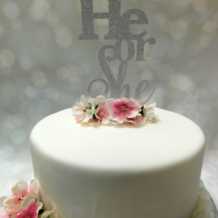 Cake Topper He or She Zilver