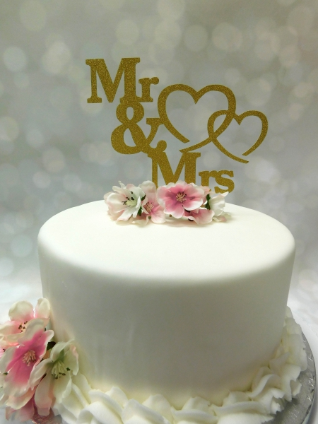 Cake Topper Mr & Mrs Harten Goud