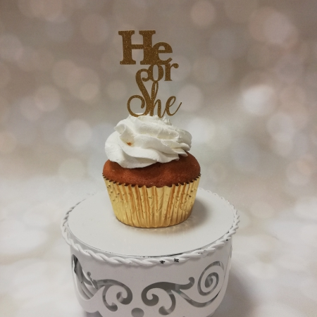 Cupcake topper He or She