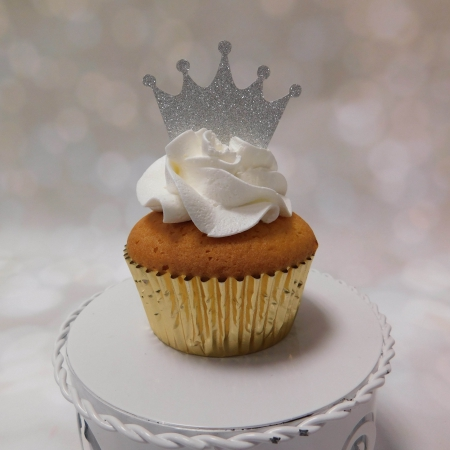 Cupcake Topper Kroontje Silver 6st.