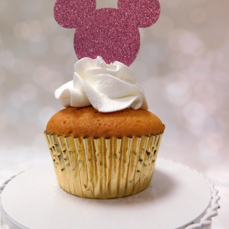 Cupcake Topper Mickey Light Pink 6st.