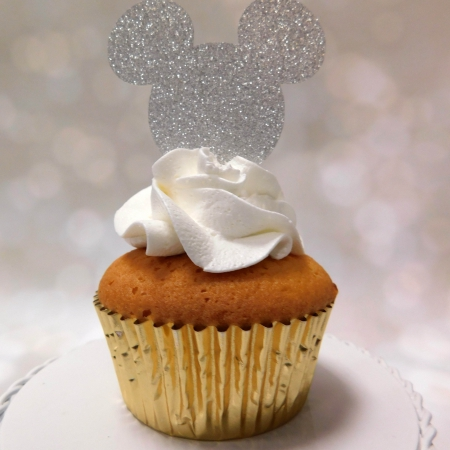 Cupcake Topper Mickey Silver 6st.