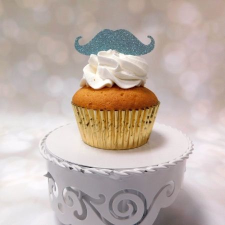 Cupcake Topper Moustache Light Blue