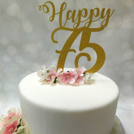 Cake Topper Happy 75