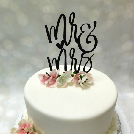 Cake Topper Mr & Mrs 3 zwart