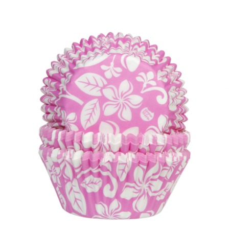 House of Marie Baking cups Aloha bloem roze pk 50