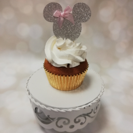 Cupcake topper Minnie Zilver