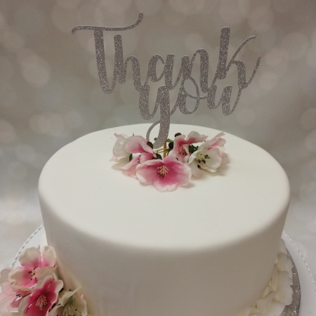 Cake Topper Thank You Silver
