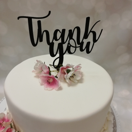 Cake Topper Thank You Black