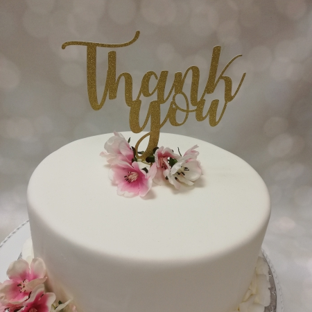 Cake Topper Thank You Gold