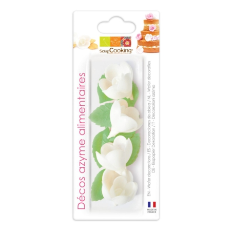 Scrapcooking Wafer Decoration White Rose & Leaf Set/10