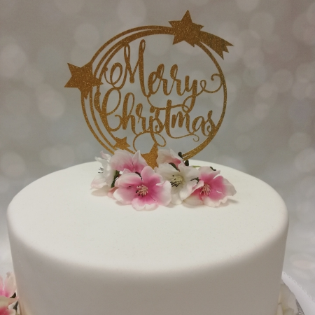 Cake Topper Merry Christmas Gold