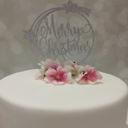 Cake Topper Merry Christmas Silver