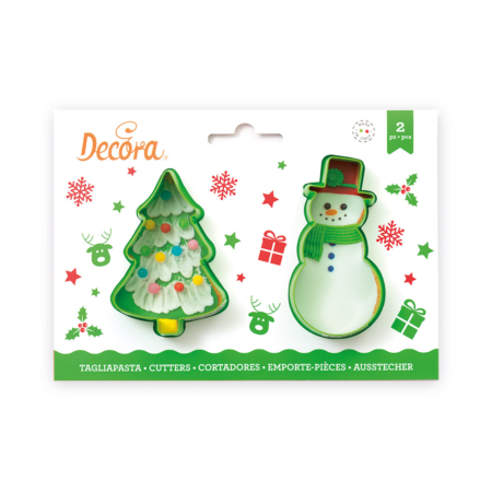HRISTMAS TREE AND SNOWMAN PLASTIC COOKIE CUTTERS SET OF 2