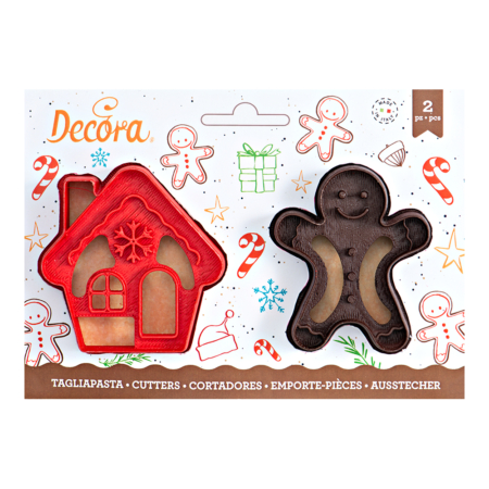 GINGERGREAD MAN & HOUSE COOKIE CUTTER SET OF 2 8 -7 X H 2,2 CM