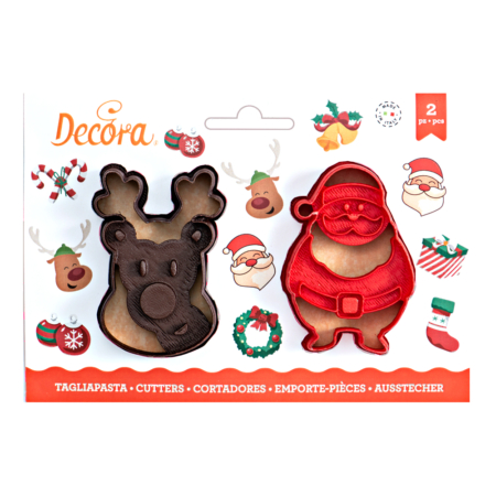 SANTA CLAUS AND REINDEER COOKIE CUTTER SET OF 2 8 7 X H 2,2 CM