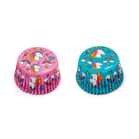 UNICORN BLUE AND PINK BAKING CUPS 50 X 32 MM