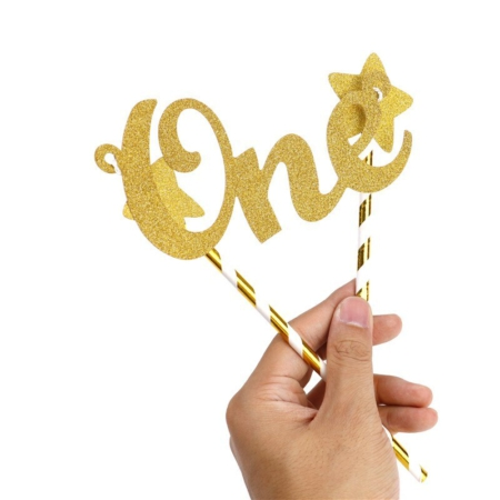 Cake Topper One Goud