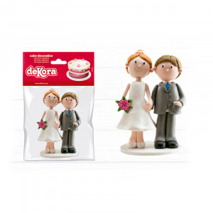Cake Topper wedding couple with bouquet 14CM